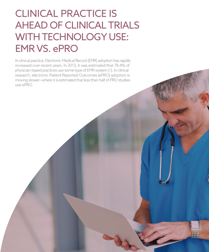 Clinical Practice Ahead Of Clinical Trials EMR vs ePRO