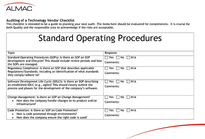 Auditing Of A Technology Vendor Checklist